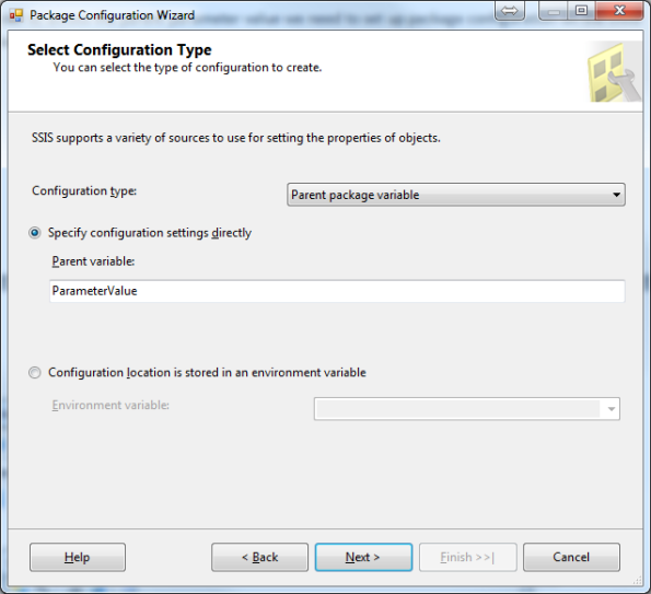 Package Configuration Wizard Step 1