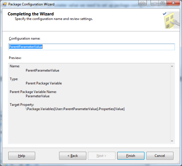 Package Configuration Wizard Step 3